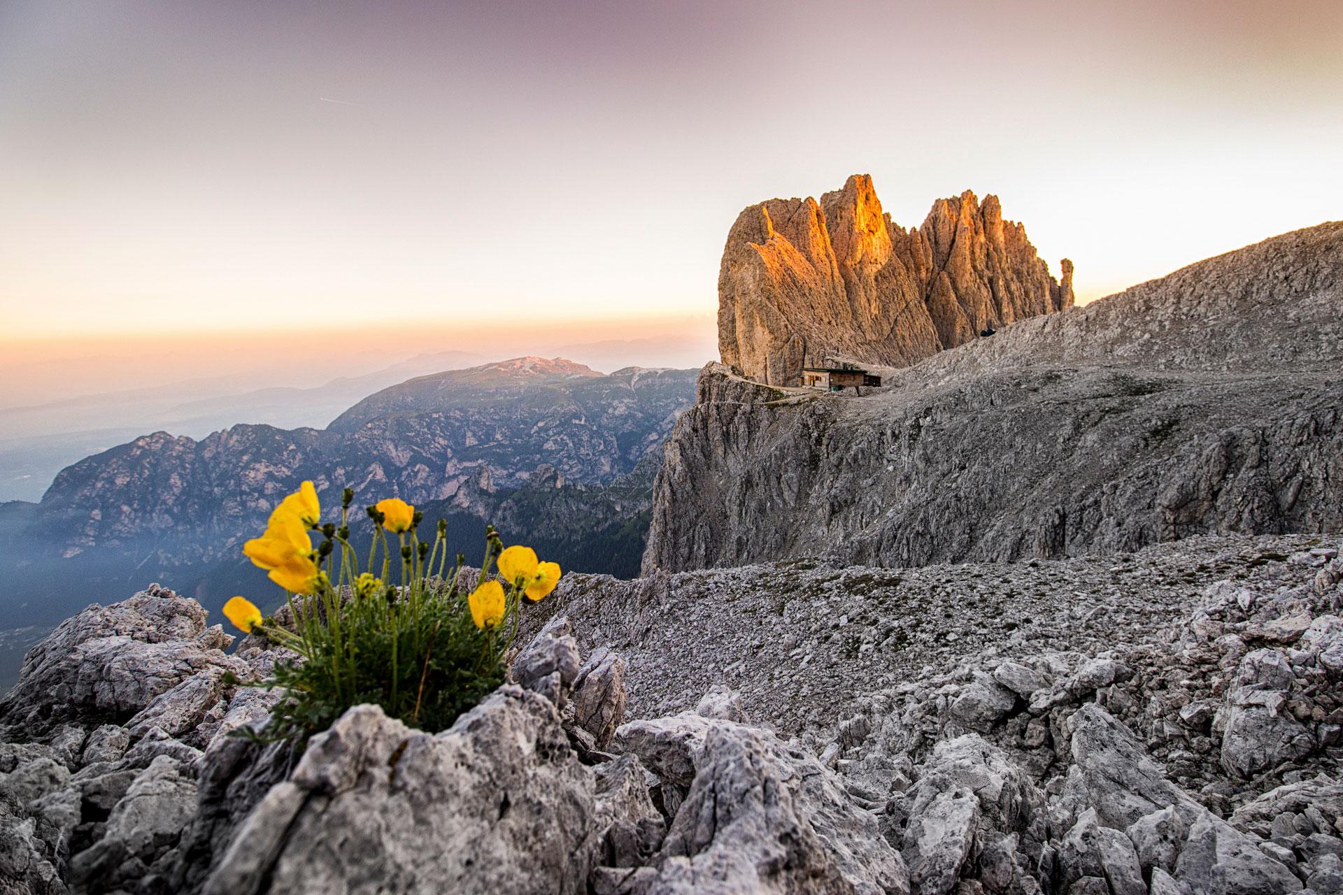 Santnerpasshuette in den Dolomiten direkt über dem Schlern