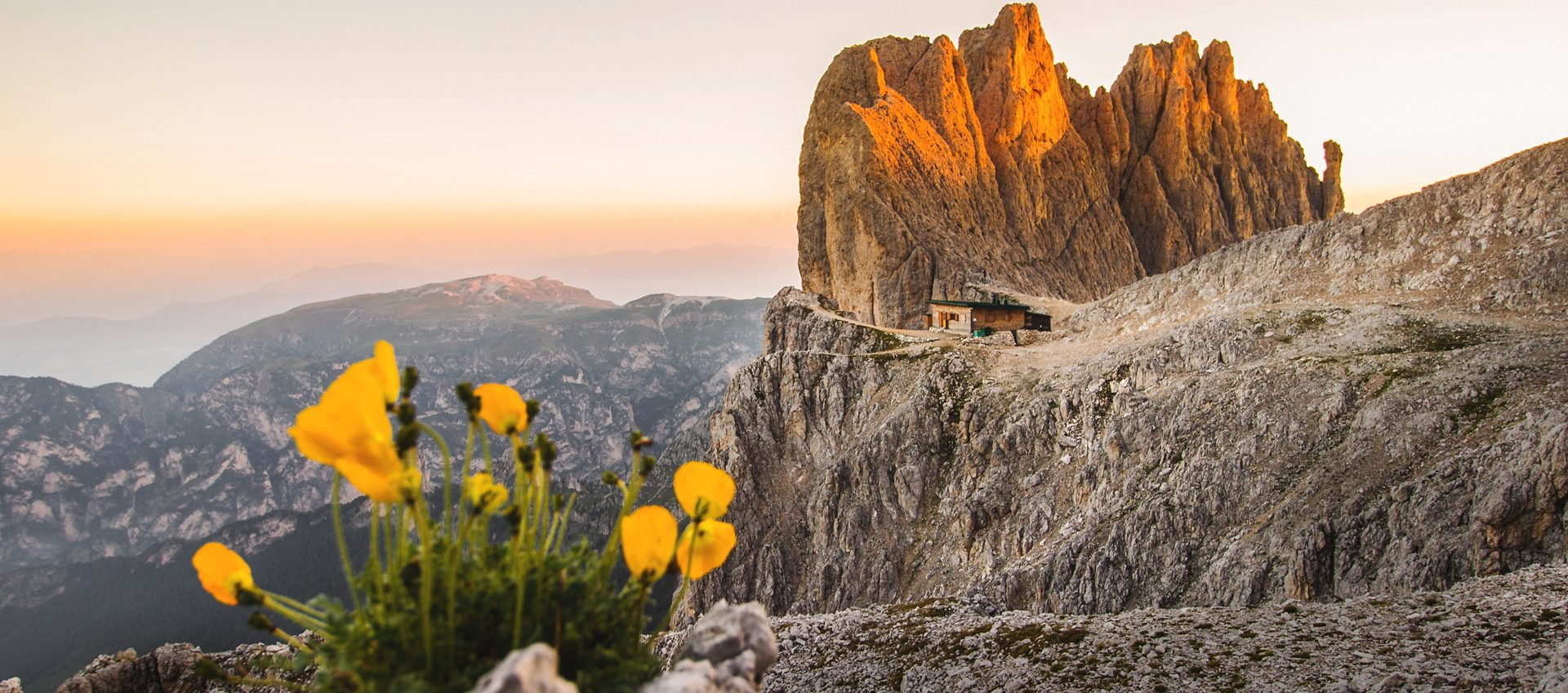 Santerpass hut in the Dolomites